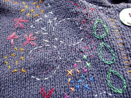 embroidering my cardigan