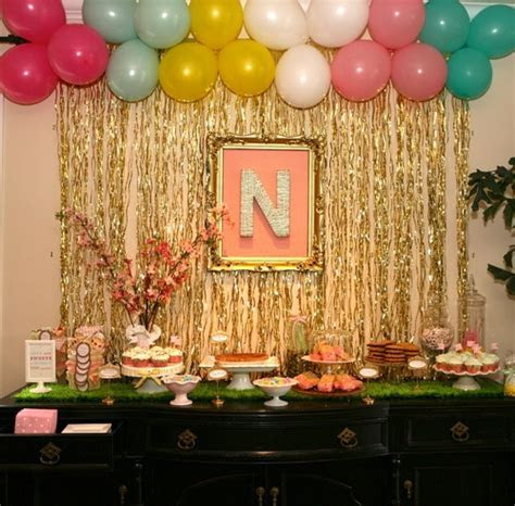 Gold Curtain & Balloon Backdrop   Sip n' See Baby Shower