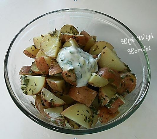 Sour Cream, Cilantro and Parsley Potatoes on the Grill - Printable Recipe