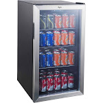 Whirlpool 3.6 cu ft Mini Refrigerator Beverage Center - Stainless Steel JC-103EZY, Black Silver
