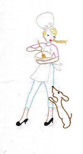 girl and pup embroidery