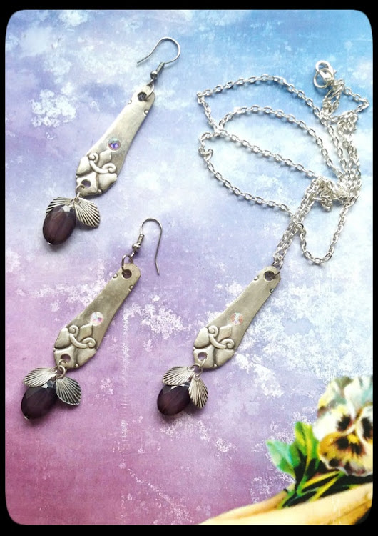 Handmade silver and plum spoon pendant and by AnnasHaberdashery