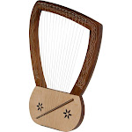 HAND CARVED LUTE LYRE HARP KING DAVID Renaissance w/ Tuning Tool