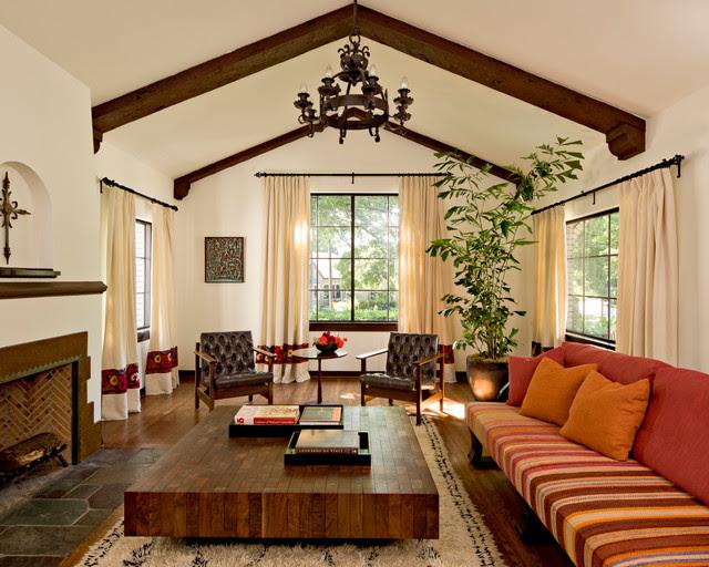 White Brick Mediterranean - mediterranean - living room - portland