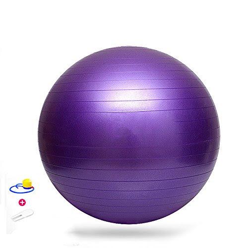 Sijueam(65CM, Purple) Yoga Ball Anti-Burst Aerobic Gym Exercise Abdominal Leg Sport for Joint Muscle Pain Relief Pregnancy Birthing Pilates non slip Balance Ball Kit with Plug & Foot Pump