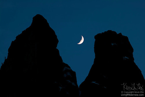 Early Winters Spires and Crescent Moon