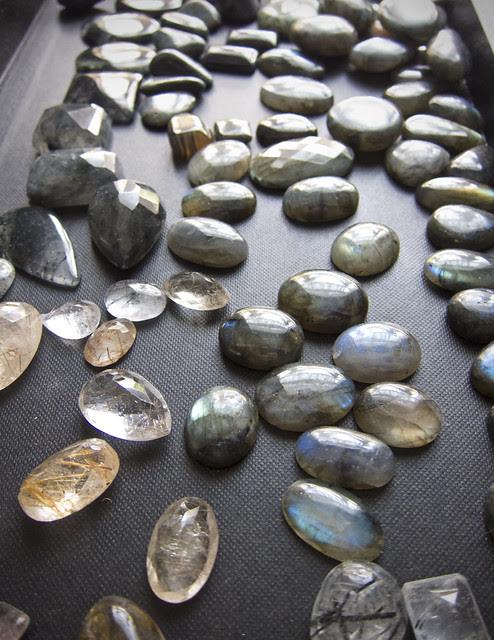 Labradorite and rutilated quartz