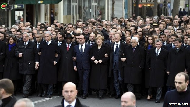"""World leaders attend the """"Marche Republicaine"""" in Paris, France 11 January 2015"""