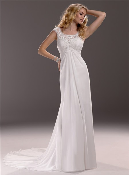 Sheath Ankle-Length Cap Sleeved Chiffon Lace Dress