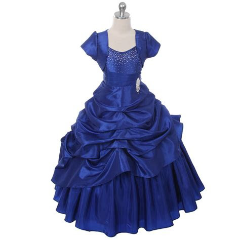 royal blue princess girl dresses pageant wedding birthday