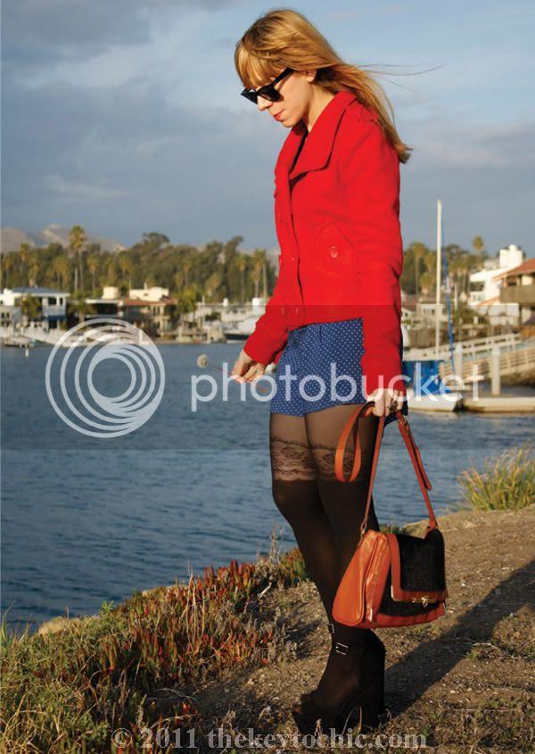 Daily Buzz Style polka dot 9x9, Forever 21 floral garter tights, polka dot shorts, Los Angeles fashion blog