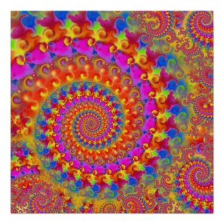 Hippy Fractal Pattern Pink Turquoise & Yellow Poster