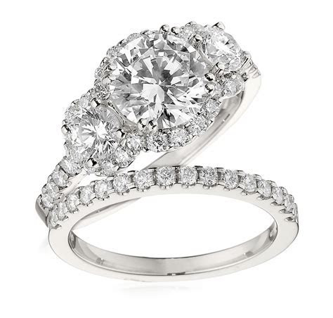 Gottlieb & Sons Engagement Ring Set: Three Stone Halo