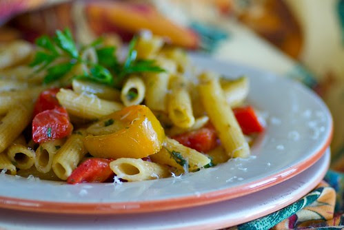 penne rigate with sweet peppers and anchovies