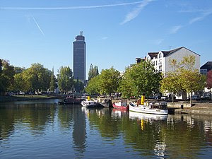 Nantes: the Erdre river and the Bretagne tower.