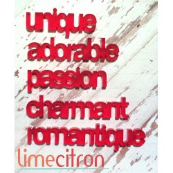 Acrylique - minis mots St-Valentin ROUGE