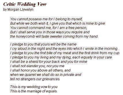 Celtic Wedding Vow   not sure if I like the entire vow but