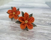 Pumpkin orange earrings floral lace ear posts orange jewelry mini fresh sunflowers bohemian summer ear studs delicate simple ear post