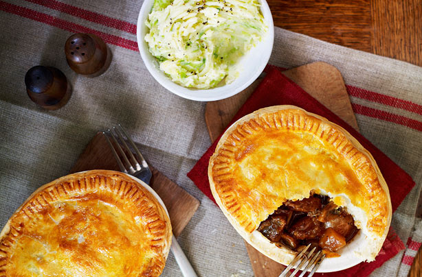 Slimming World's steak and Guinness pies with sprout mash ...