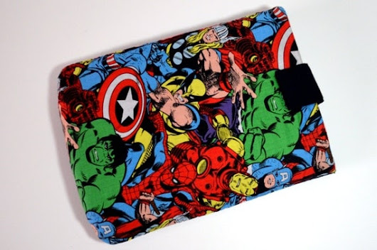 Hand Crafted Tablet Case From Licensed Marvel Comics Avengers Fabric/Case for iPad, Kindle Fire HD, iPad Mini, iPad Air, Samsung Galaxy Tab
