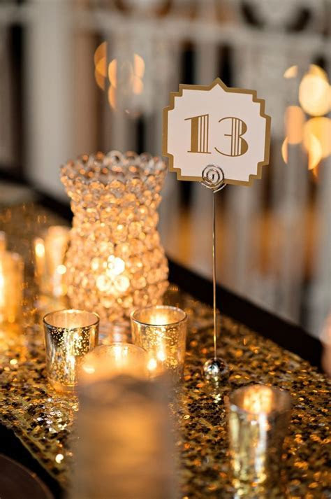 Elegant Black, White & Gold Wedding   White gold weddings