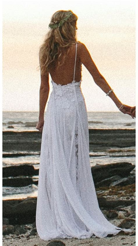 Lace wedding dress low back beach if I go that way  Just