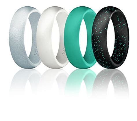 Silicone Wedding Ring For Women By ROQ, Set of 4 Silicone