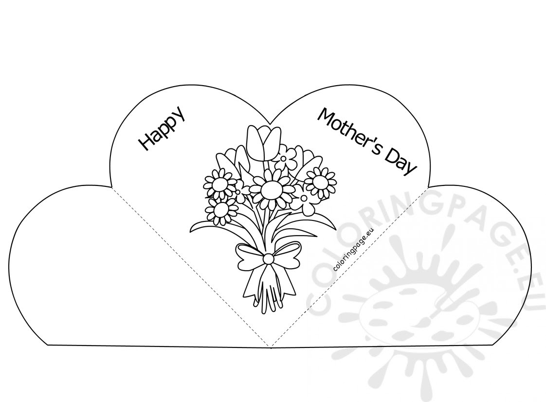 Popup Heart Greeting Card Happy Mother's Day - Coloring Page