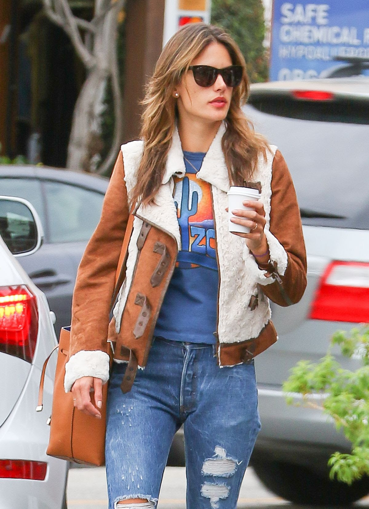 ALESSANDRA AMBROSIO in Ripped Jeans Out and About in Brentwood