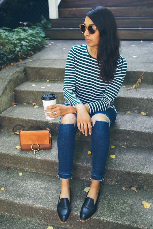 The Perfect Fall Stripe Peplum Tee | Lows to Luxe