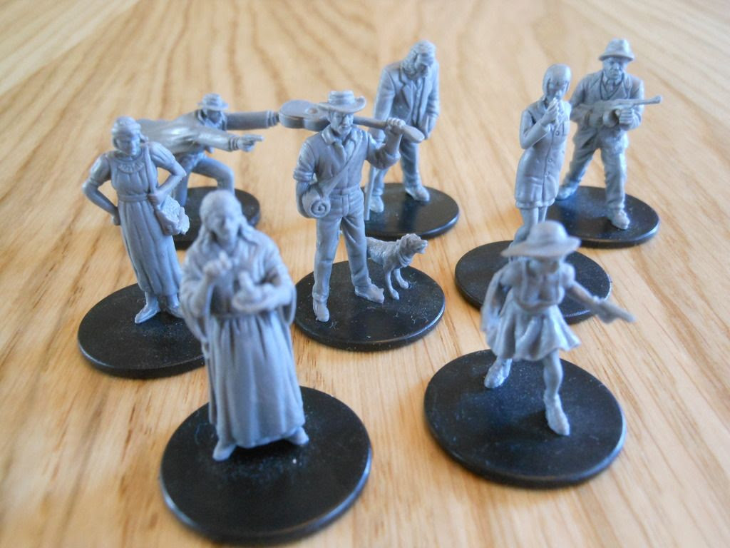 Close up view of the eight intrepid investigators that explore the dark secrets in Mansions of Madness.
