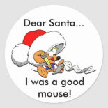 Dear Santa Mouse Classic Round Sticker