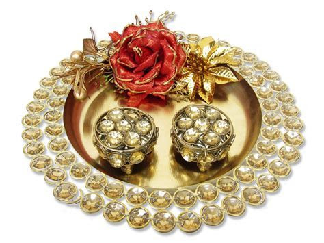 Golden Stone Studded Ring Platter with Ring Cases
