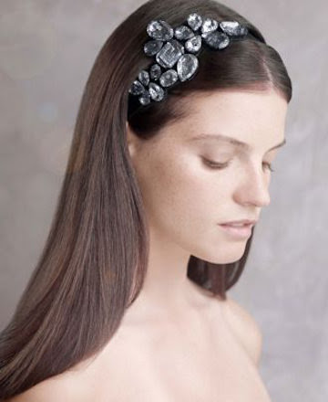 WHITE by Vera Wang Stretch-Satin Headband with Crystal Ornament