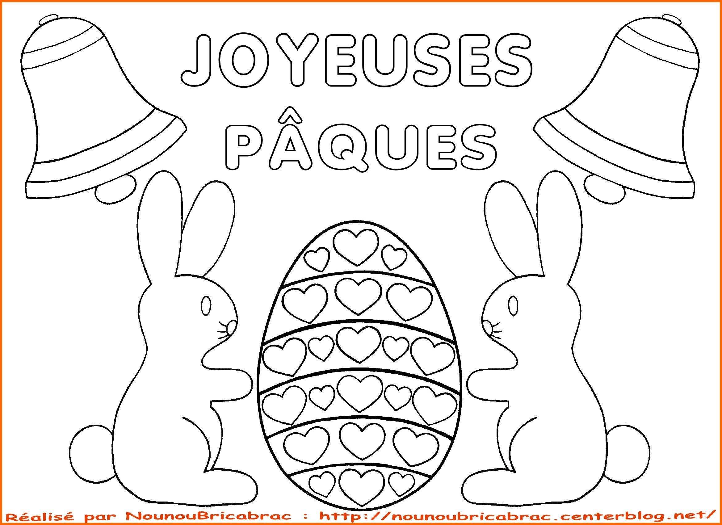 Lapins en chocolat et oeuf surprise Joyeuses P¢ques  colorier