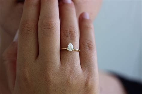 Pear Engagement Ring   Colorless Diamond Ring ? ARTEMER