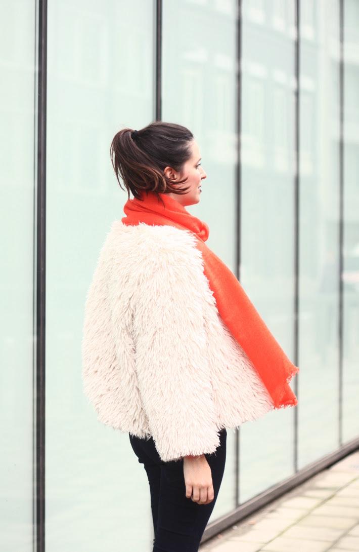 Faux Fur Jacket, Dark Purple Lipstick