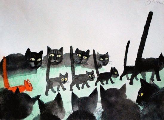 Cats by Józef Wilkoń