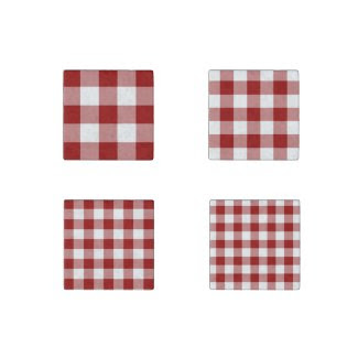 Homey Red and White Gingham Pattern Magnet Set Stone Magnet