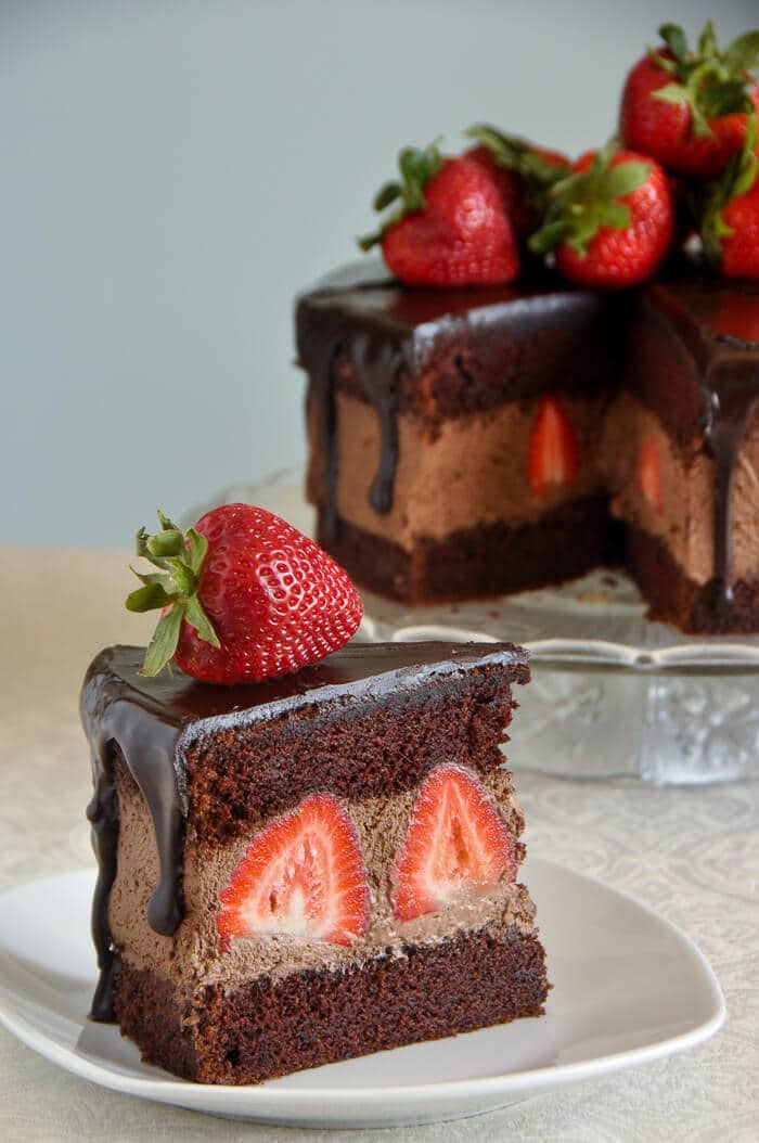 Chocolate Whipped Cream Cake with Strawberries ...