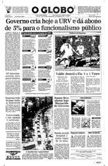 28 de Fevereiro de 1994, Primeira Página, página 1