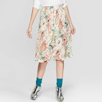 Women's Floral Print Pleated Midi Skirt - Spenser Jeremy - Tan