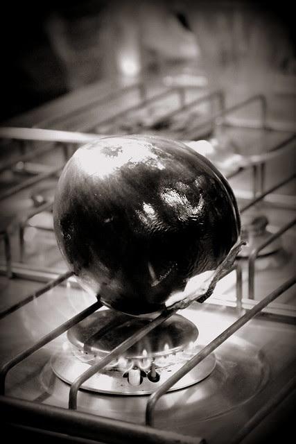 grilling aubergine