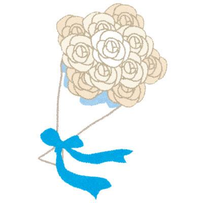 フリー素材 白いバラの花束のイラスト結婚式のブーケのデザインに