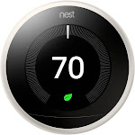 "Nest Learning 3rd generation Automatic Thermostat 2.08"" - with LCD Display - Wi-Fi/Bluetooth 4.0 LE/802.15.4 - Android/iOS - White"