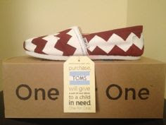 White Canvas TOMS w/ Maroon Chevron Design by FreckandMe on Etsy, $80.00
