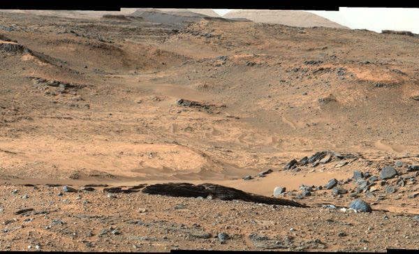 An image taken by NASA's Curiosity Mars rover which shows the 'Amargosa Valley,' on the slopes leading up to Mount Sharp on the Red Planet.