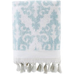 "Saturday Knight Ltd Mirage Fringe Reversible & Woven Jacquard Bath Towel - 28x54"" Taupe - 28x54 Aqua"