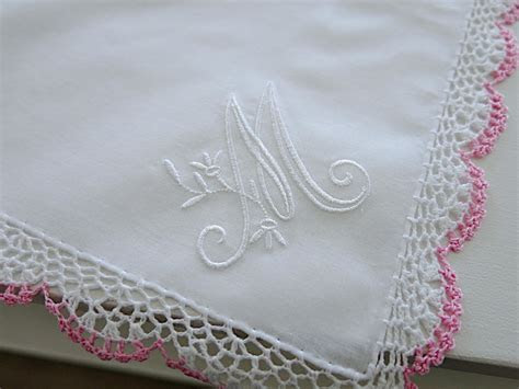 Wedding Handkerchief: Pink/White Crochet Lace Handkerchief