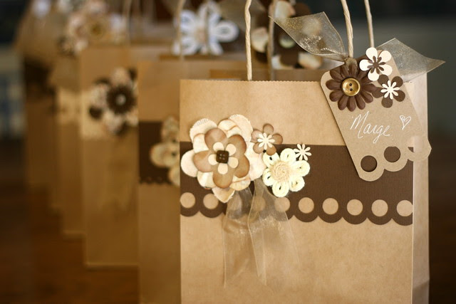 Group of Brown Flower Bags